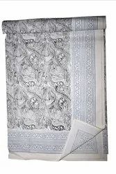 Best King Bed Size White Color Cotton Fabric Hand Block Print Bed Sheet