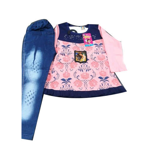 b86d141c013a Printed Baby Girl Party Wear Jeans Top Set, Rs 325 /set | ID ...