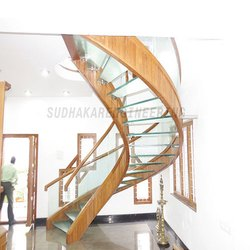 Wooden with Glass Staircase