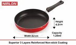 Nirlon Aluminium Non Stick Deep Fry Pan Cookware Pan, Frying Pans, 22 Cm, Red And Black