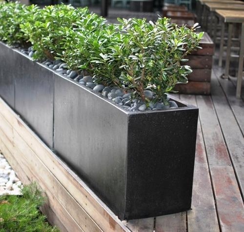 Delicieux Standard White , Dark Grey Rectangular Outdoor Garden Pots, Size: As Per  Requirement.