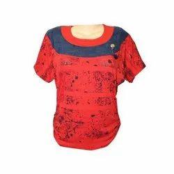 Hosiery Half Sleeves Ladies Fancy Top, Size: XS-XXL