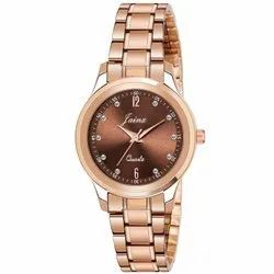 Jainx Rose Gold Round Analog Watch For Women's - JW 1210