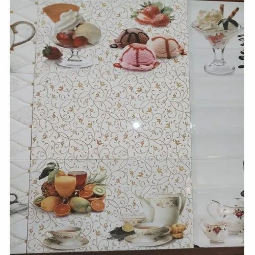White 300X600mm Printed Kitchen Tiles