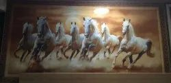 7 White Horses Wall Picture Tile