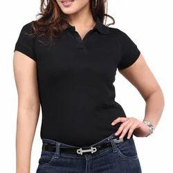 Black Ladies Collar T-shirt