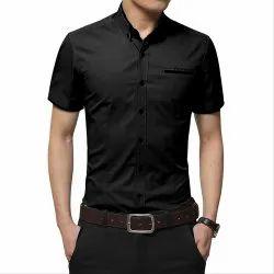 Black Casual Wear Mens Half Sleeve Cotton Shirt, Packaging Type: Packet