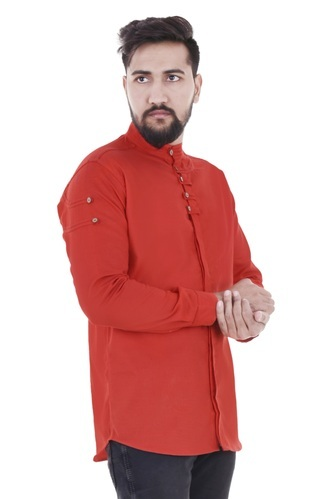 6d635656a3c Red Mens Chinese Collar Cotton Shirt