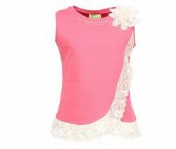 Cutecumber Girls Knit Embellished Pink Sleeveless Top