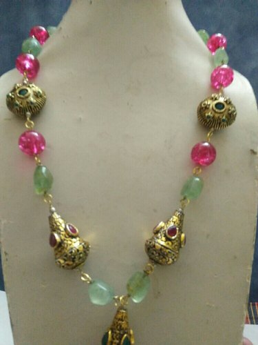 Golden Jaipur Traditional South Indian Gold Necklace Set Rs 1500