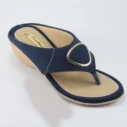 Pvc Daily Wear Ladies Blue Wedges Rexine Slipper, Size: 6-11