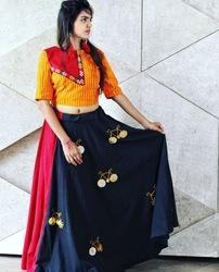 Fancy Long Skirt And Crop Top