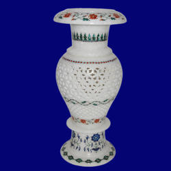 White Marble inlay Flower pot