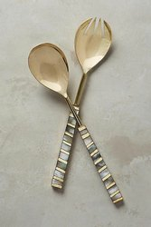 Brass And Mother Of Pearl Salad Serving Spoon