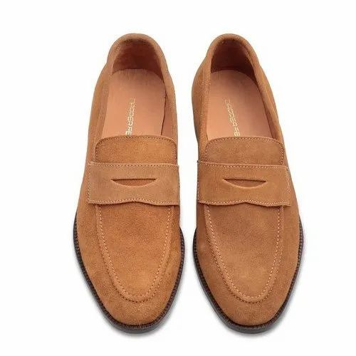Casual Tan Mens Suede Penny Loafers
