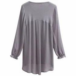 Georgette Plain Ladies Grey Casual Top