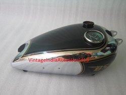 New Bsa C10 C11 Black Painted Chromed Gas Petrol Tank With Replica Smith Speedo(Rep