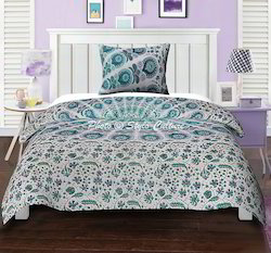 Twin Peacock Feather Green Mandala Duvet Quilt Cover