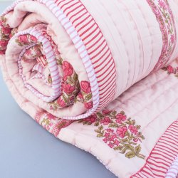 Cotton Handmade Pink Block Print Double Bed Jaipuri Rajai Summer Quilt