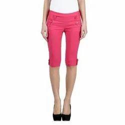 Stretchable Pink Ladies Cotton Capri