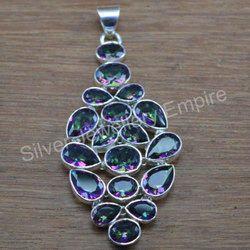Mystic Topaz Gemstone 925 Sterling Silver Handmade Pendant