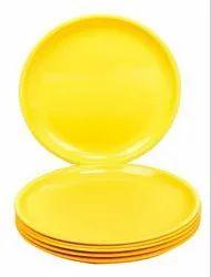 MEHUL 6 Pcs Melamine Full Plate - Yellow (6 Plate Set)