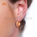 Rose Gold Plated 925 Silver Womens Hoop Earrings Jewelry