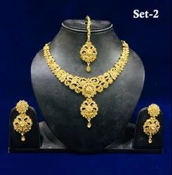 Artificial Party Necklace Maang Tika Jewelry Sets
