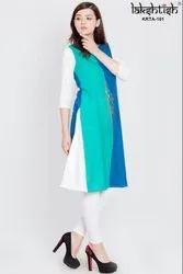 Regular Knee Long Lakshtish Multicolor A Line Printed Cotton Kurta