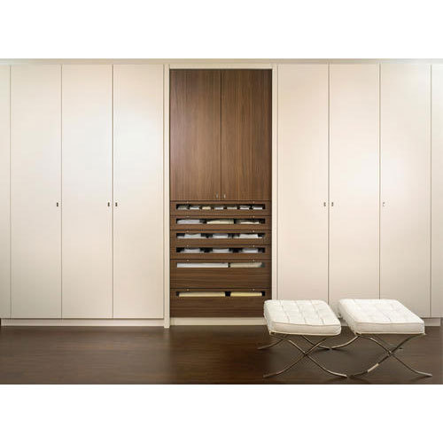 Brown White Plywood Decorative Bedroom Wardrobe Rs 42109 Unit Id 19441269130