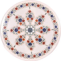 White Round Marble Inlay Table Tops