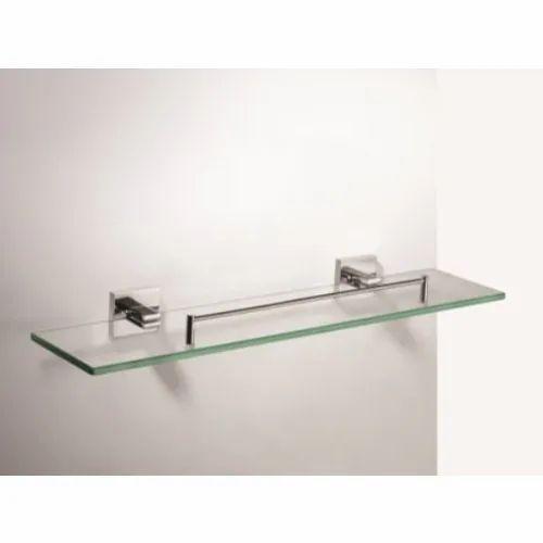 Glass And Ss Bathroom Shelf Rs, Decorative Glass Shelves Bathroom