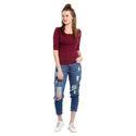100% Cotton Women's Half Sleeves Burgundy Colour T-Shirt