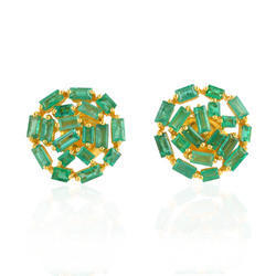 Baguette Stud Earring, Weight: 6.558 gram