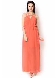 UR-493 Orange Ployester Full Length Party Wear