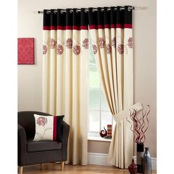 Printed Eyelet Designer Cotton Curtain for Window, Length: 7-8 Feet