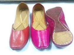 Plain Leather Colorful Punjabi Jutti