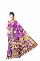 All Over Magenta Color Hand Work Design Art Silk Bandhani Saree