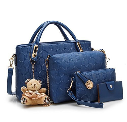5f8b567b094 Blue Vezela 4 Pieces Lady Womens PU Leather Combo Bags, Rs 350 ...