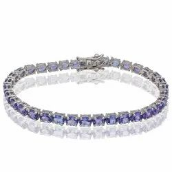 Tanzanite Tennis Bracelet in Sterling Silver with Rhodium Plating