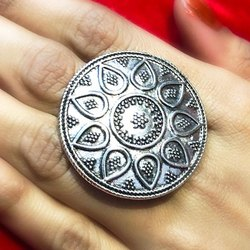 Oxidized Coin Shape Rings