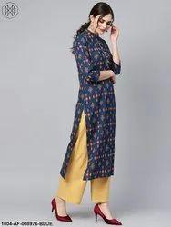 Navy Blue Geometric Printed Sleeve Kurta Set with Solid Yellow Pants
