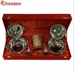 Choozee - Copper SS Handi, Bucket and Kadhai Set with Serving Spoon Oval (10 Pcs)