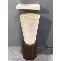 Ceramic Brown Designer Pedestal Wash Basin, For Bathroom