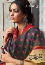Rajjo Net Wedding Wear Rumani Cotton Lifestyle Saree, 5.2 m (Separate Blouse Piece)