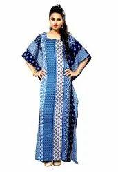 Printed Satin Silk Long Women Kaftans