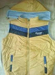 Casual Wear Men Mustard Sleeveless Jacket With Detachable Hood