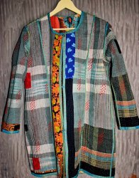 Multicolor Checked Kantha Jacket