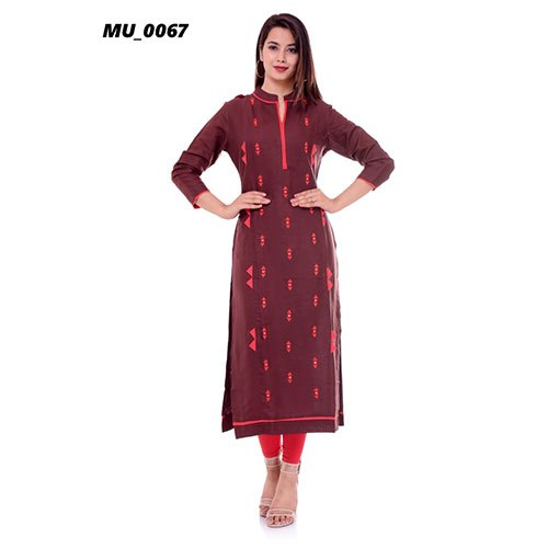 Formal Wear 3/4th Sleeve Ladies A-Line Cotton Kurti, Size: S-XXL