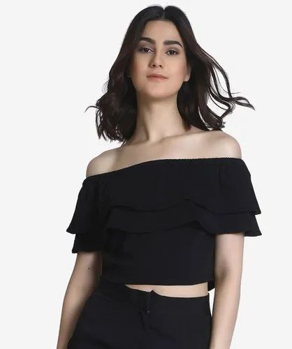 3ac254ec7a6956 Plain Sleeveless Off Shoulder Crop Top